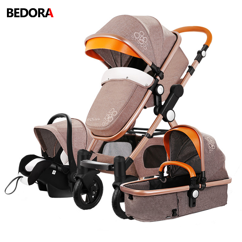 Bedora 0-4 Years Old Baby Stroller 3 In 1 With Car Seat High Landscape Stroller Foldable Infant Trolley Pram Baby Pushchair the little old lady in saint tropez