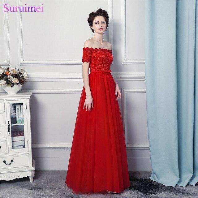 54e2efb3c4fb0 Kapalı Omuz Kırmızı Abiye Straplez Dantel Aplike Korse Lace Up Kat Uzunluk  Uzun Abiye Elbise Ile