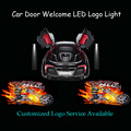 2x 3D Flaming Bike Logo Ghost Shadow Puddle Spotlight Car Door Welcome Laser Projector LED Light (1265)