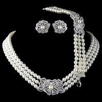 Elegant Ivory Pearl & Rhinestone Pendientes Cristalinos Del Collar de Rodio Del Tono de Plata con La Pulsera de La Vendimia Floral de La Boda Sistemas de La Joyería