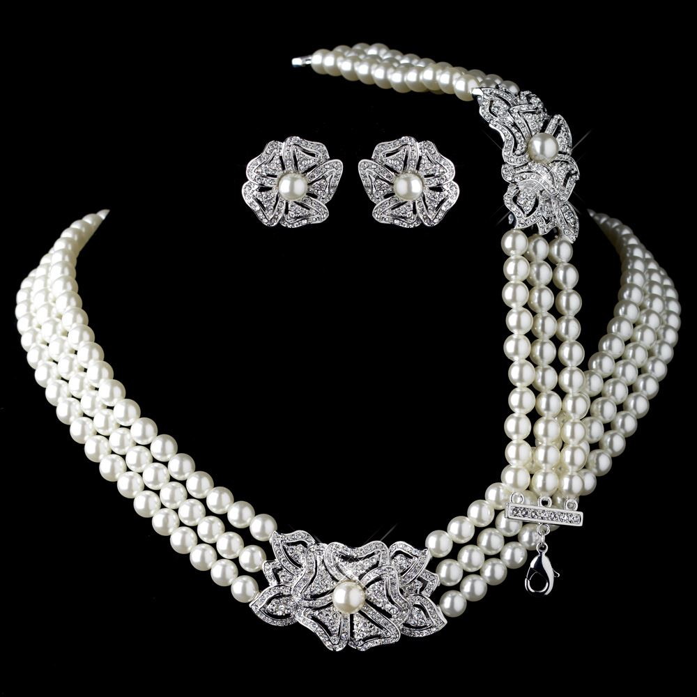 Elegant rhodium silver tone ivory pearl rhinestone for Decor jewelry