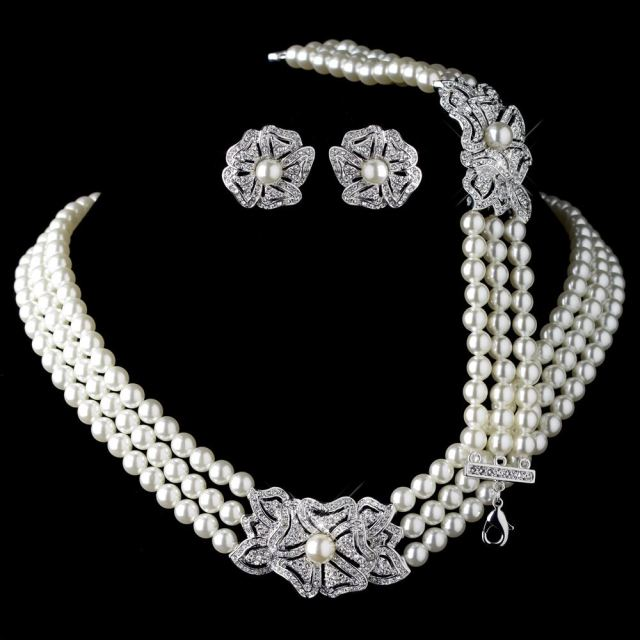 Elegant Rhodium Silver Tone Ivory Pearl Rhinestone Crystal Necklace Earrings With Bracelet Vintage Fl Wedding