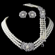 Elegant Rhodium Silver Tone Ivory Pearl & Rhinestone Crystal Necklace Earrings with Bracelet Vintage Floral Wedding Jewelry Sets