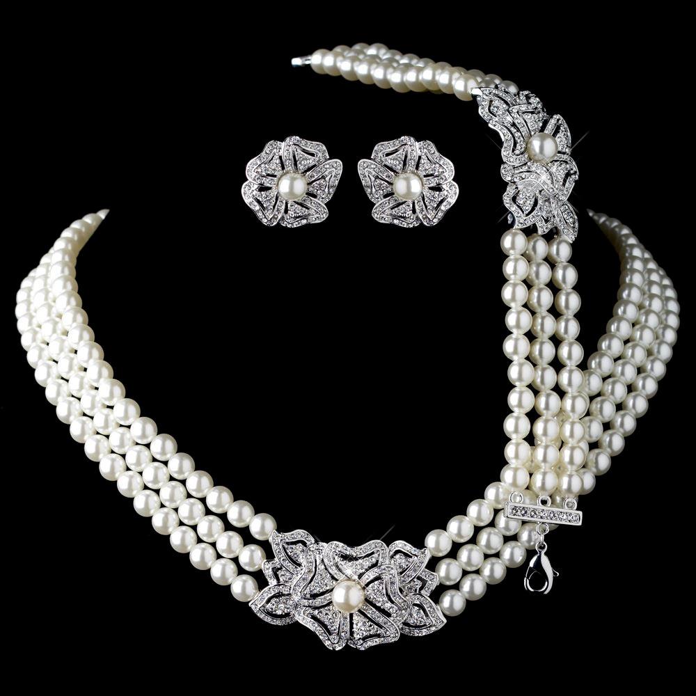 6631873a93d8 Elegante rodio tono plata marfil perla y diamantes de imitación cristal  collar pendientes con pulsera Vintage Floral boda joyería conjuntos