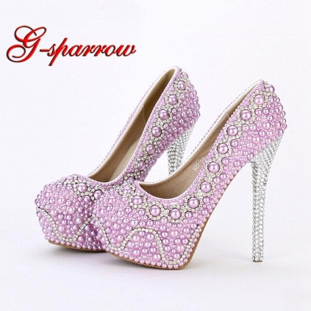 New Handmade Fashion Purple Pearl Wedding Shoes Luxury Rhinestone Stiletto  Heel Bridal Dress Shoes Evening Party ae8bdb66b3bf