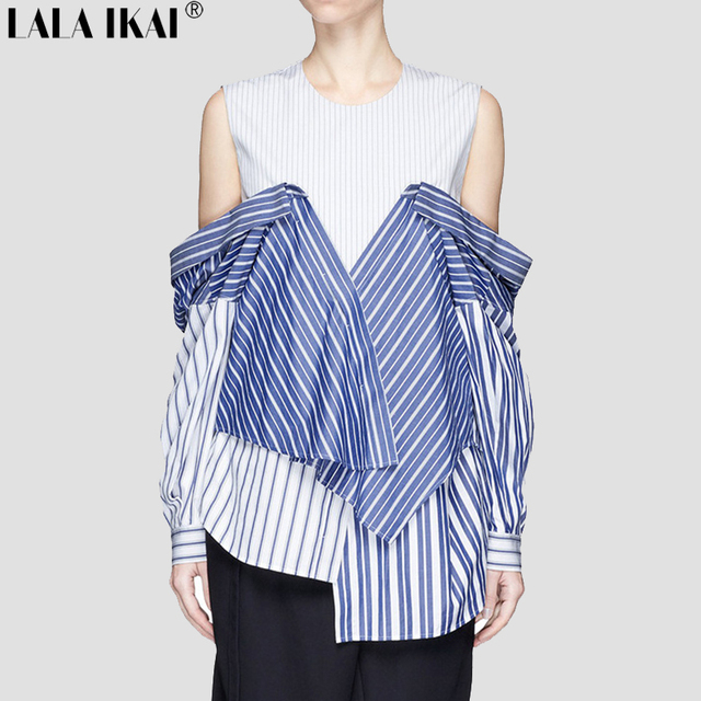 1eedd22b16a Street Style Autumn Female T-Shirt Women Blue and White Striped Tshirts  Cold Shoulder Full Sleeve Tops Outfits Ladies SWB1042-45