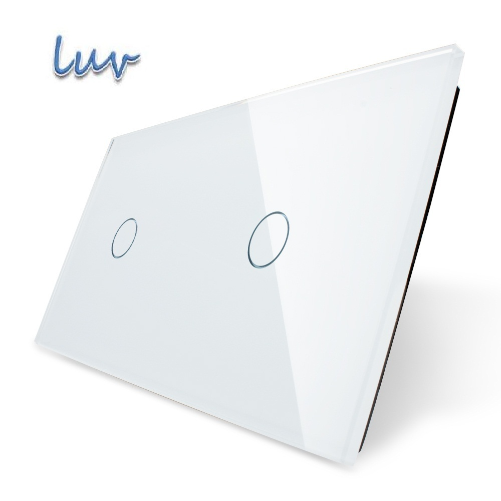 Luxury White Pearl Crystal Glass, 151mm*80mm, EU standard, Double Glass Panel,LUV VL-C7-C1/C1-11