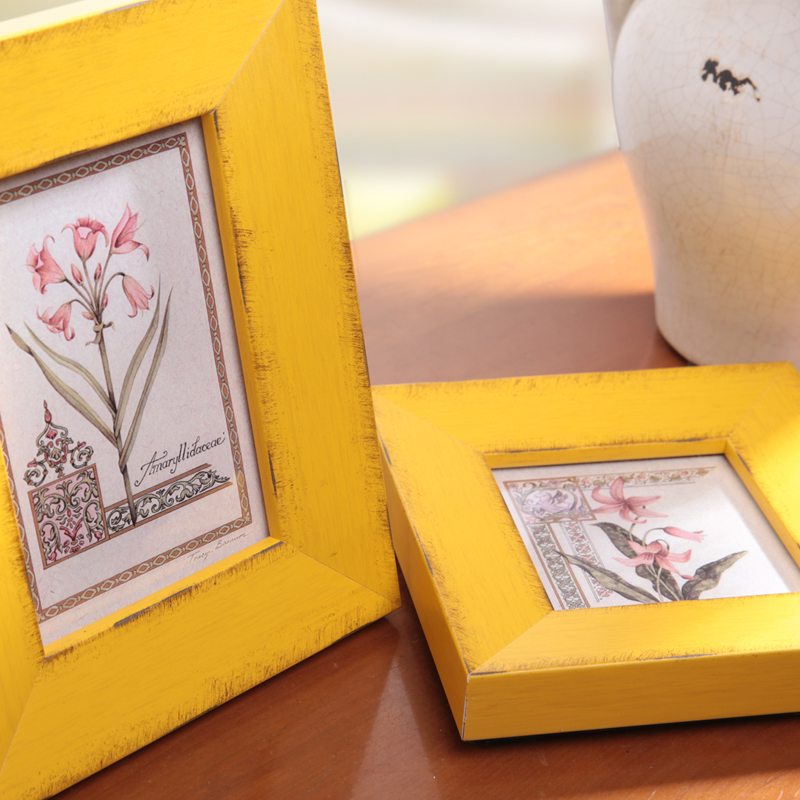 Free Shipping Vintage yellow Picture Frames Wooden Photo Frames ...