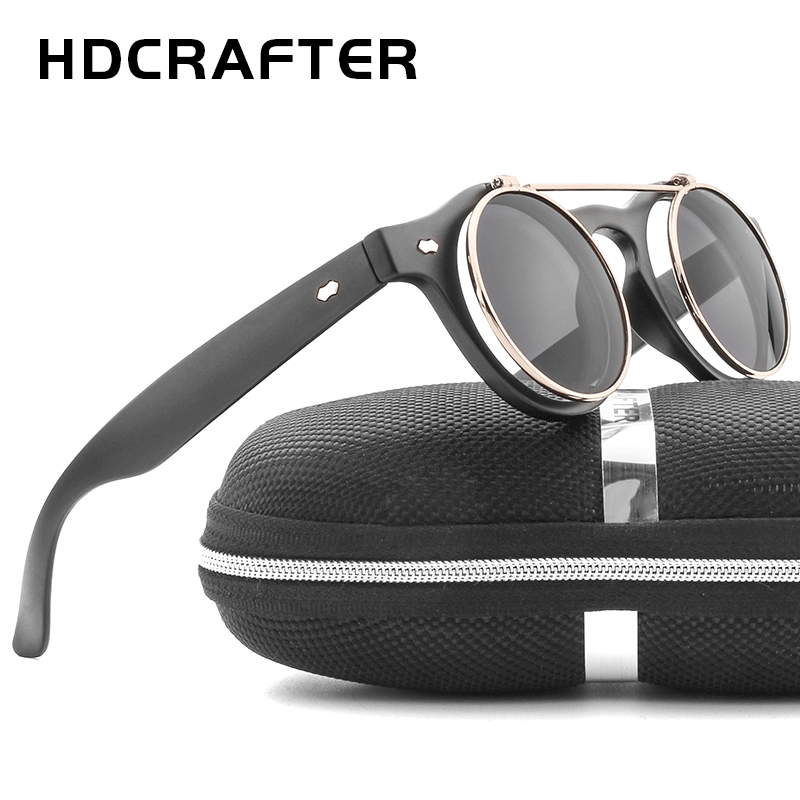 HDCRAFTER New Steampunk Goth Glasses Round Flip Up Sunglasses for Women Men Vintage Eyewear Unisex