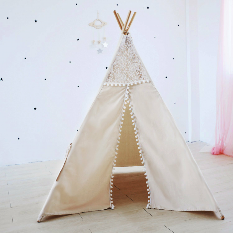 4-Pole Natural Canvas Pom Pom Kids Teepee Tent With Roll-Up Window Childrens Indoor Play Tipi Tent pink clouds teepee tent indoor childrens play tipi