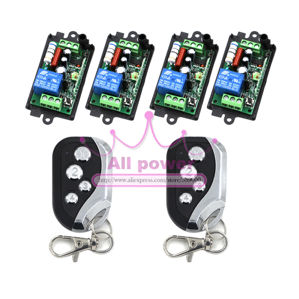 4Receiver&2Transmitter 220V 1CH RF Wireless Remote Switch Light Lamp LED SMD ON OFF Switch Wireless 10A Momenrary Toggle Latched 2pcs receiver transmitters with 2 dual button remote control wireless remote control switch led light lamp remote on off system