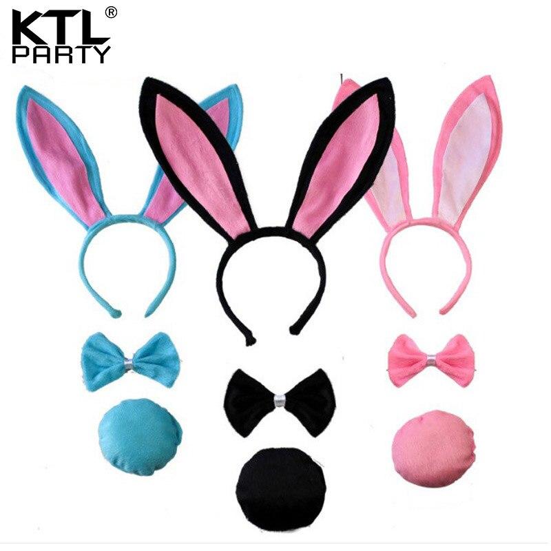 Children adult Bunny Ear Headband Set Black pink white blue Fancy Dress Costume Hen Party big Rabbit ear hairbands headwear tail