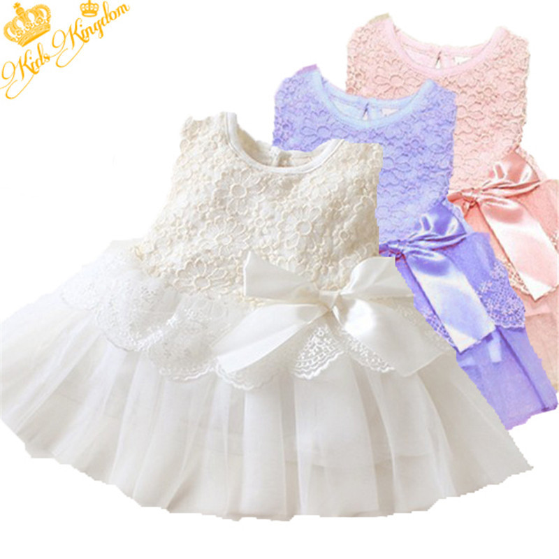 Baby Kids Bow Lace Princess Tutu Clothes Girls Dress Children Cotton Ball Gown Wedding Dress vestidos 0-2Y