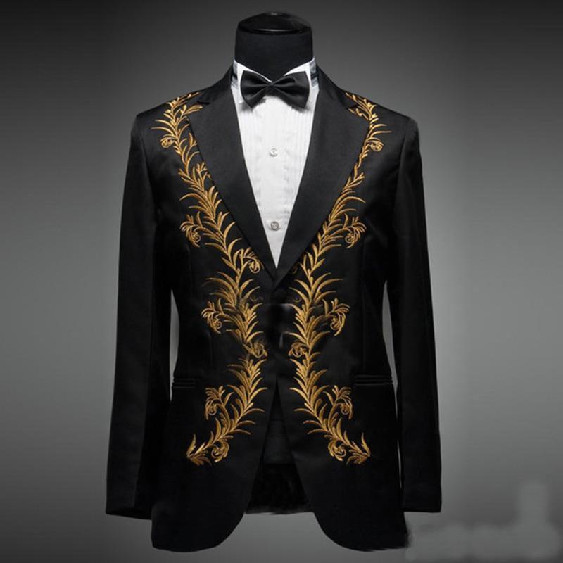 2017 Slim Fit Embroidered Для мужчин костюмы лацканами смокинг жениха для выпускного Для мужчин костюмы праздничная одежда блейзеры (куртка + Штаны + ба
