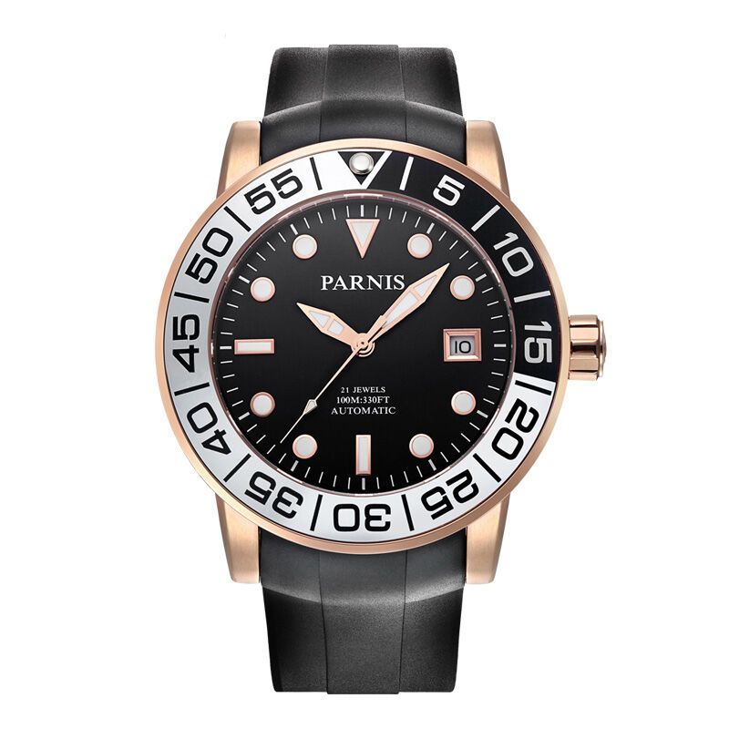 Parnis Sailer Seriers Mens Silicone Watchband Sport Fashion Automatic Auto Wind Mechanical font b Watch b