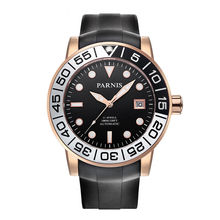Parnis Sailer Seriers Mens Silicone Watchband Sport Fashion Automatic Auto-Wind Mechanical Watch Wristwatch