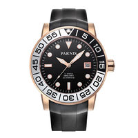 Parnis Sailer Seriers Mens Silicone Watchband Sport Fashion Automatic Auto Wind Mechanical Watch Wristwatch