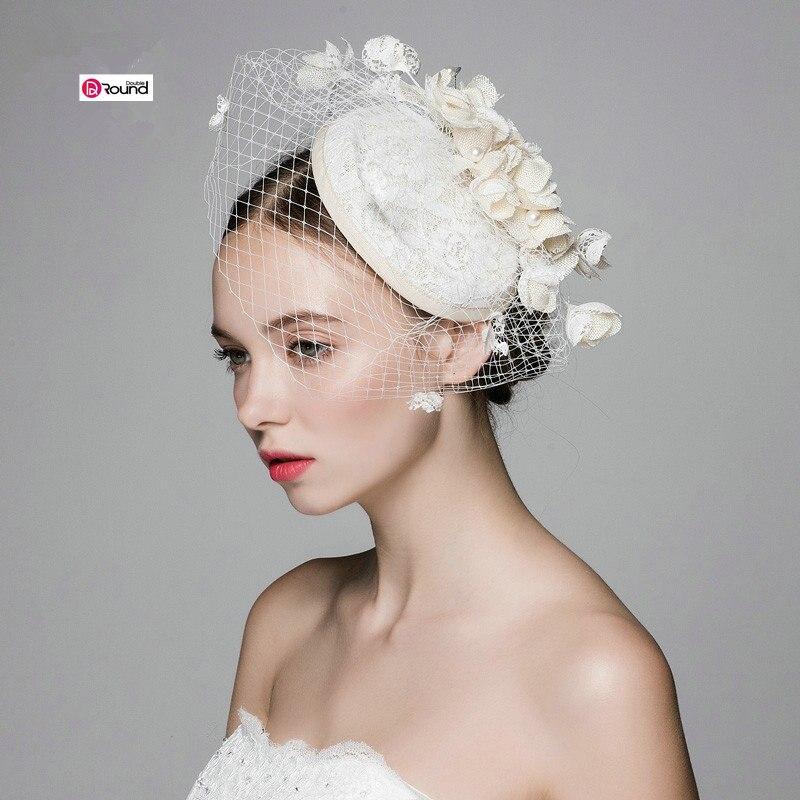 Ny Ankomst Skogstil Elegant Bomullslinne Blommor Grenadin Brudhatt / - Bröllopstillbehör - Foto 3