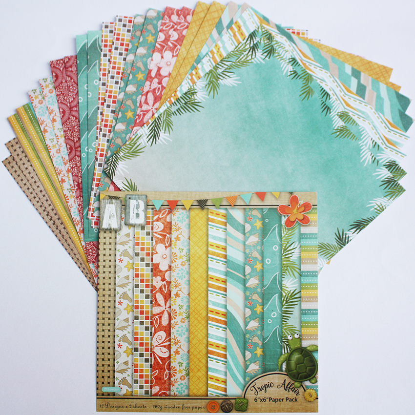 DIY Photo Album Ocean Decorative Scrapbooking <font><b>Papers</b></font> Crafts Art Card 6 inches 24 Sheets/sets image
