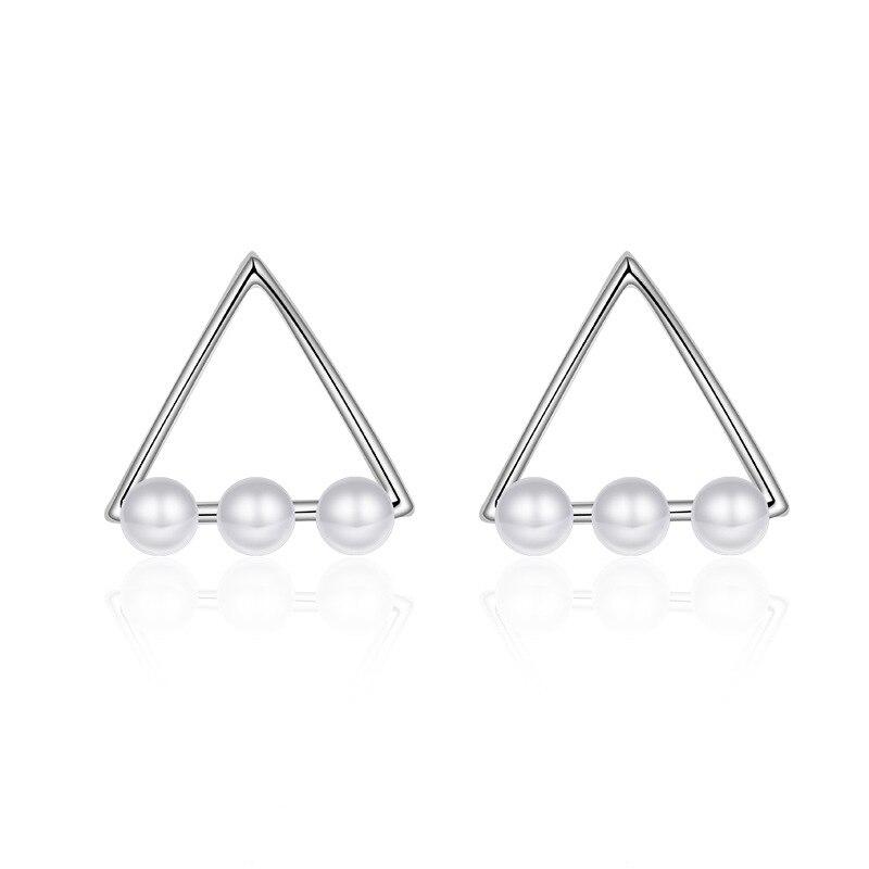 Hot prodej propagace nové módní trojúhelník geometrie perla design 925 mincovní stříbro náušnice pro ženy dívka šperky dárek