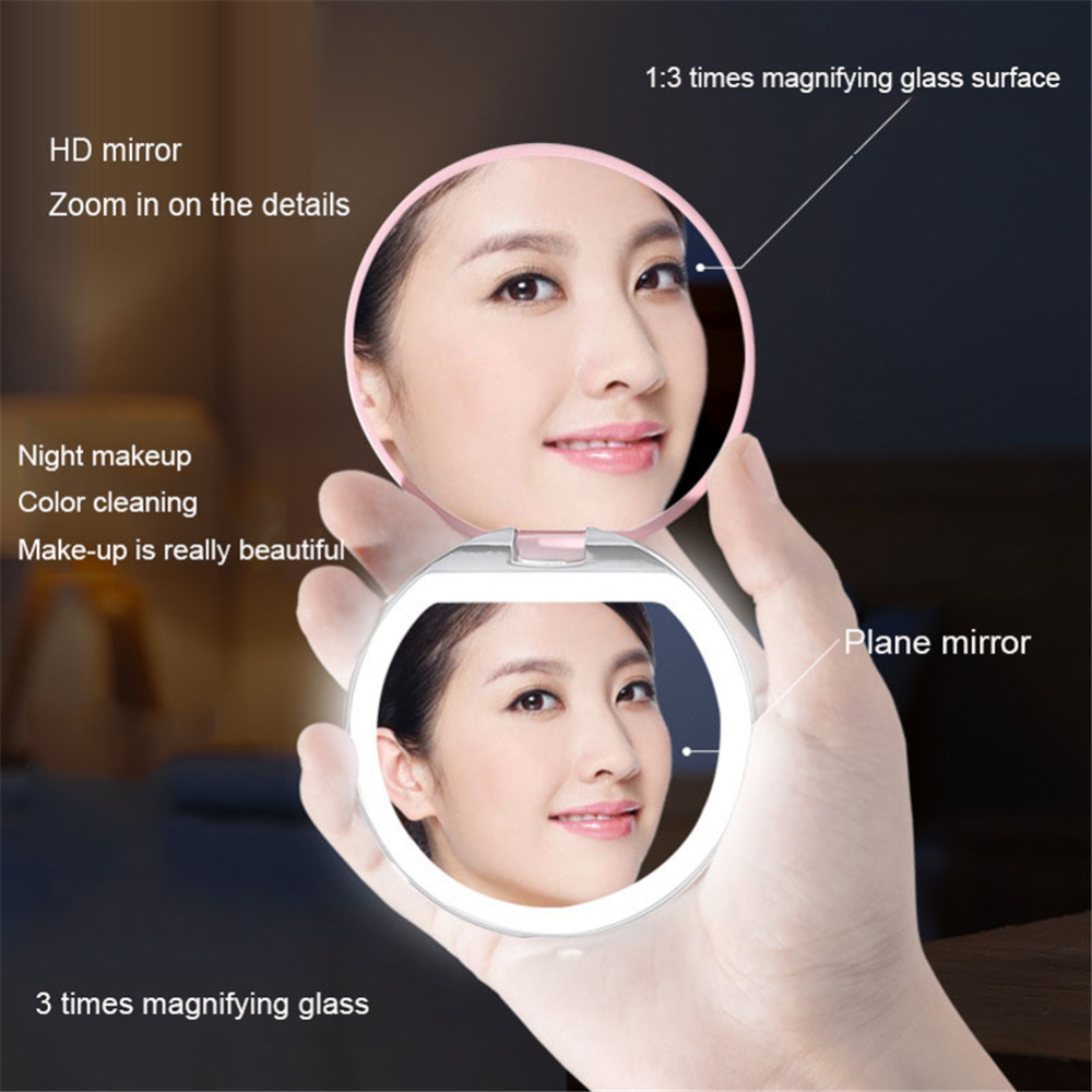 Купить с кэшбэком Mini Portable LED Lights Makeup Mirror 3X Expand Double Hand Magnify Handheld Folded LED Makeup Mirror makeup Tool dresser decor