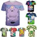 Camisa nova T 3D Adventure Time Lumpy Espaço Princesa/Little Pony/Sereia/Pokemon/Pikachu Impresso T-shirt mulheres Homens Tshirt