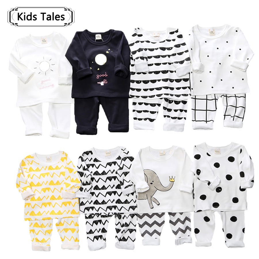 Children's clothing boy girls set children clothing sets autumn baby pajamas cartoon printed long sleeve clothes for child ST268 autumn winter girls children sets clothing long sleeve o neck pullover cartoon dog sweater short pant suit sets for cute girls