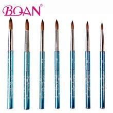 BQAN 10 adet #6 #8 #10 #12 #14 #16 #18 Kolinsky Sable fırça akrilik tırnak resim fırçası tırnak resim fırçası mavi Metal kristal akrilik Salon 2017