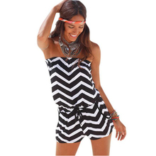 Rompers Womens Jumpsuit 2016 Female Pocket Sexy Strapless Wave Printed Striped Jumpsuits Sexy Bodysuit Overalls For