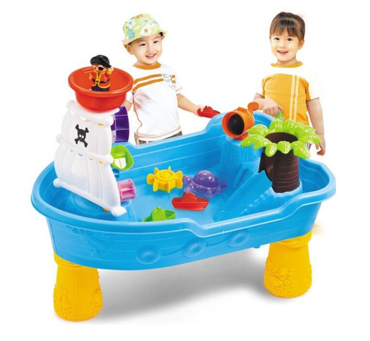 Pirate Ship Kids Outdoor Play Sand and Water Table with Sand Molds Beach Toy Set For