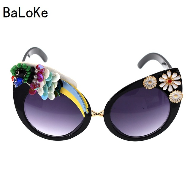 86d950cdc Baroque Big Designer Handmade Vintage Cat Eye Flower Rhinestone Luxury  Ladies Sunglasses Summer Beach Party Women