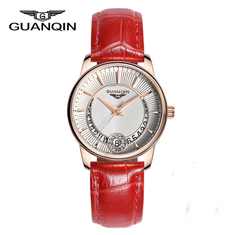 ФОТО GUANQIN GQ15009 Luxury Women Watches Analog Display Dress Wristwatch Top Brand Gold Case Leather Band Ladies Quartz Reloj Mujer