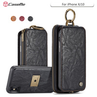 CaseMe For IPhone X Phone Case Song Series Magnetic Hand Bag Case Multi Functional Stand Wallet