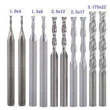 1 мм, 1,5 мм, 2,0 мм, 2,5 мм, 3,175 мм, карбид, 2 флейты, спиральные фрезы, гравировальные Фрезы с ЧПУ