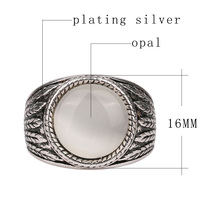 Boho Round Opal Ring for Men