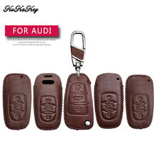 Brown Car Key Case Cover For Audi A1 A2 A3 A4 A5 A6 A7 TT Q3 Q5 Q7 R8 S6 S7 S8 A4L A6L Key Shell Ring Holder Genuine Leather Bag(China)