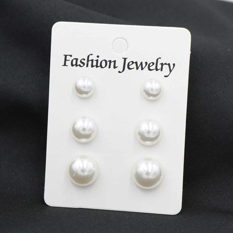 ES2096 Simple Brincos 3pairs Three Sizes Simulated Pearl Stud Earrings Sets For Women Fashion Ear Jewelry Cute Wedding Earring
