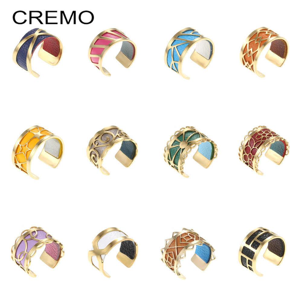 Cremo ที่มีสีสันสแตนเลสสตีลแหวน Bijoux หนังเปลี่ยนได้ปรับแหวน Bague Femme Gold Reversible แหวนหนัง