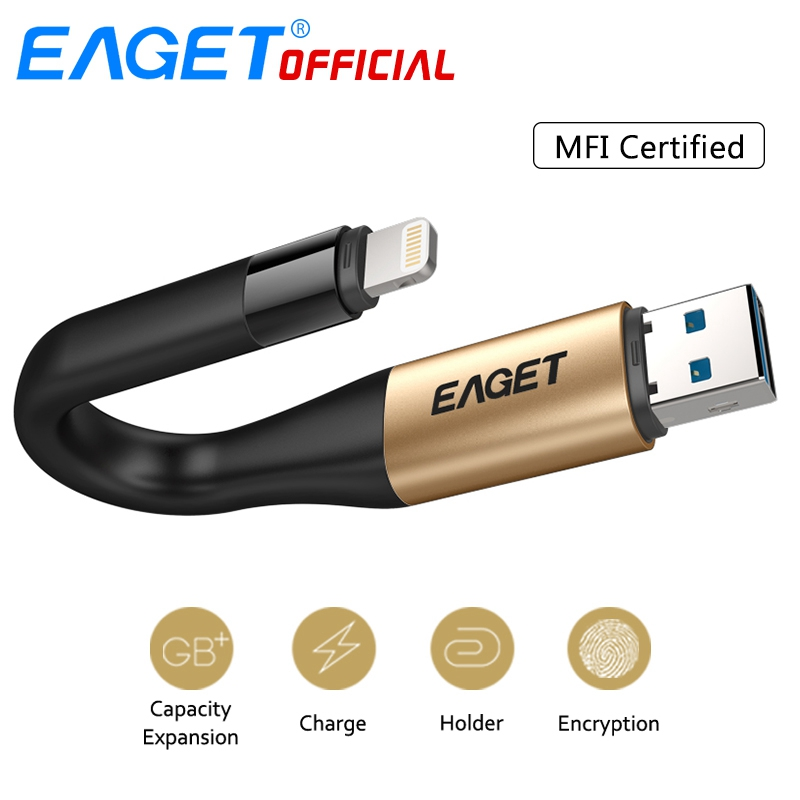 EAGET USB 3.0 USB Flash Drive 64G 2 In 1 MFI Certified 128G OTG Charge Metal Pendrive Memory Stick For Lightning For iPhone