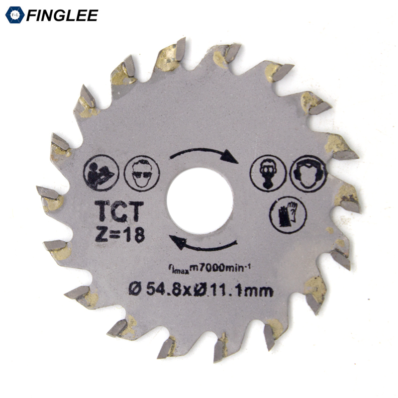 FINGLEE 1Pc 54.8mm Inner 11.1mm TCT Woodworking Mini Circular Saw Blade Acrylic Plastic Cutting Blade General Purpose For Wood