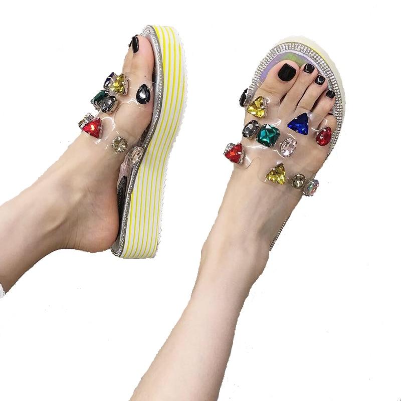 Womens Slippers Leisure Transparent Sandals Outdoors Women Comfy Platform Sandal Shoes Summer Beach Slippers Rhinestones Sandals