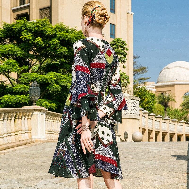 Bohemian flare sleeve print dress 2018 new runway women summer dress high quality office lady long sleeve beach a line dress in Dresses from Women 39 s Clothing