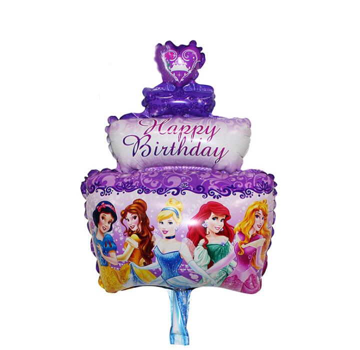 Mini Birthday Party Decorations kids Foil Balloons Five Princess three layers cake Party Supplies Wedding/Halloween/Christmas