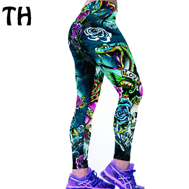 2016 Thin Fitness Leggings Women Flower Snake Digital Printing Knitted Workout Compression Pants Leggins Mujer #160564