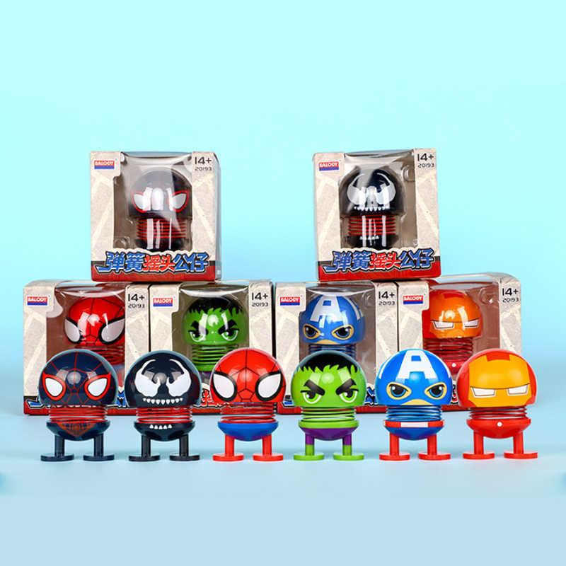 4 vingadores Homem de ferro Capitão América Spiderman Criativo ornamentos carro balanço boneca bonito decoração interior do carro figura de ação brinquedos