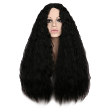 QQXCAIW Women Long Kinky Curly Wigs Black Brown Middle Part Heat Resistant Hair Synthetic Wig