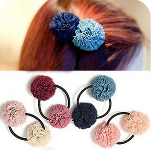 Hot Sale Free shipping 3pcs/lot Korean Style Double Color Ball Cute Circle Girls Hair Tie
