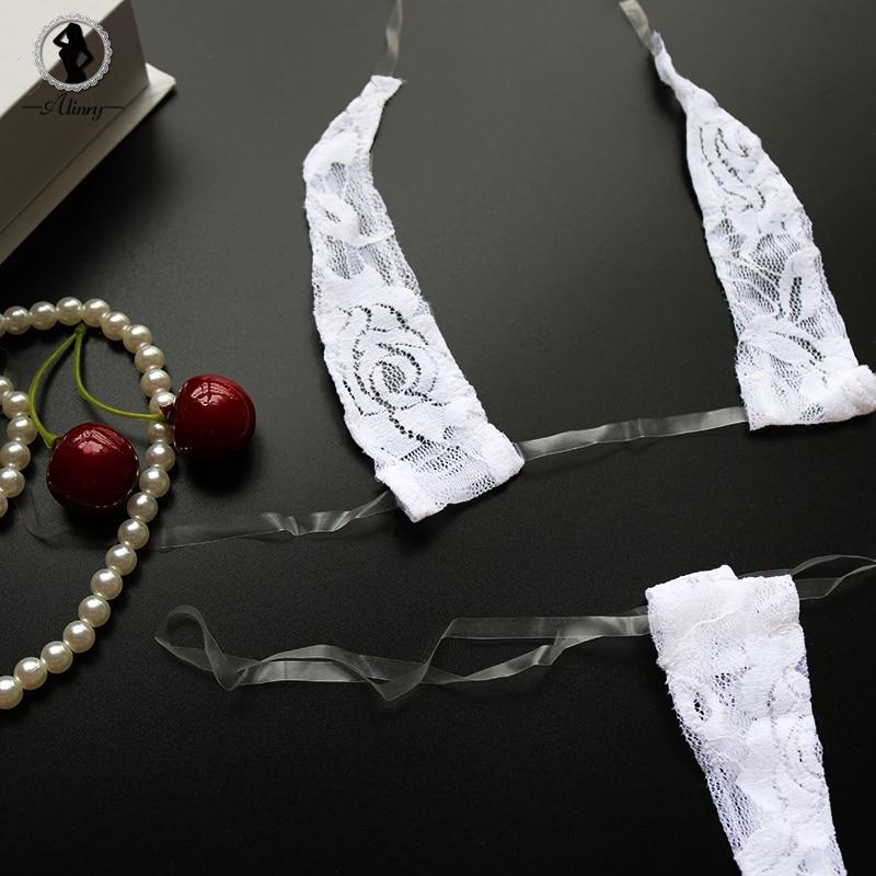 ALINRY Sexy Lingerie Set Lace Women Transparent Erotic Mini Bikini Costume Underwear Halte