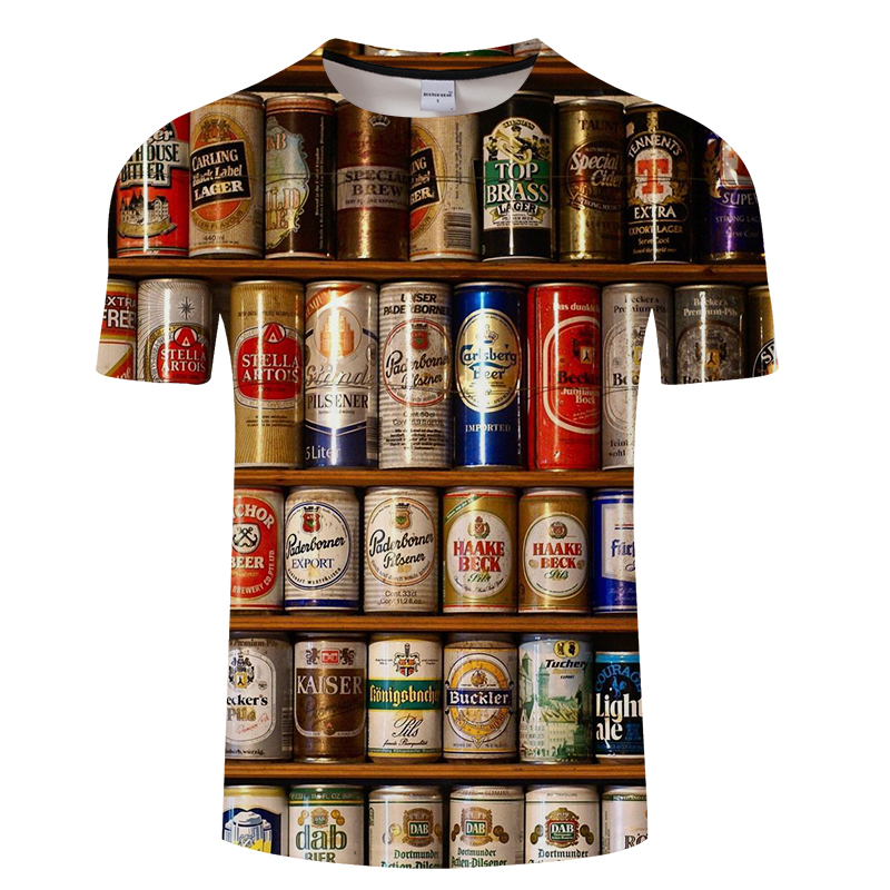 2019 Novelty 3D t shirt Men Cans of beer Printed Hip Hop Crewneck short Sleeve Men/Women t-shirt tee tops wholesale Asian size