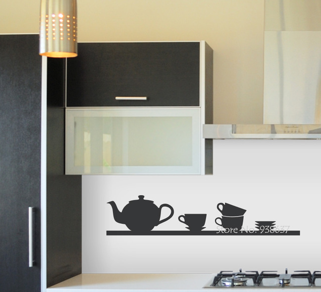 Tea Time tatuajes de pared estante para cocina vinilo Adhesivos ...